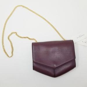 NWT Sandro Paris Lou Bourdeaux Red Leather Bag